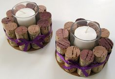 Wine Cork Votive Holders with Purple Ribbon-Set of Two- Wedding, Holidays, Hostess Gift, Romantic Dinner, Home Decor ETSY $20