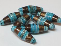 Paper beads- Recycled paper beads- Loose paper beads- Beading supplies- Jewelry Supplies- Upcycled- Bi-cone beads-Metallic brass- Turquoise by SunshineJStudio on Etsy