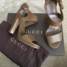 Gucci Open Toe Heels Sandal Worn one time for a photo shoot. Perfect condition, no scratches, etc. Dustbag & box included. Gucci Shoes Heels