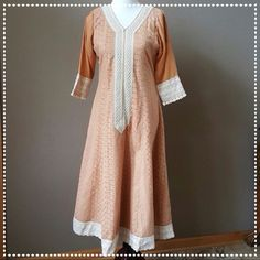 "Long Panelled Dress Brand new with beaded lace on neckline, bottom edge around & sleeves. Front & back body is 100% cotton, sleeves are chiffon. Lighter tan with cream/ ivory lace work. Bust: 19.5"" across Waist: 17"" across  Hips: 21"" across  Length: 49"" Size S Dresses Maxi"
