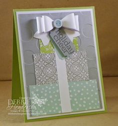 Merry Monday #150 Challenge. Stampin' Up! Bow Builder Punch and All Is Calm Designer Paper. Debbie Henderson, Debbie's Designs.