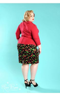 Pinup Couture- Pinup Couture Pencil Skirt in Black Cherry - Plus Size | Pinup Girl Clothing
