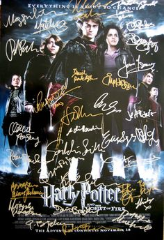 HARRY POTTER and the Goblet Of Fire original movie poster cast signed