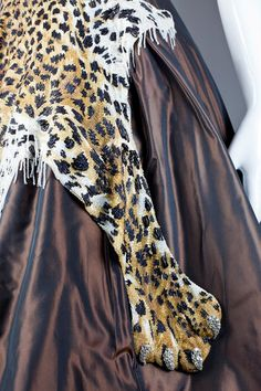 A detailed view of a leopard motif embroidery by Mr. Lesage created for the  designer Jean Paul Gaultier, which took 700 hours to finish.NYT.