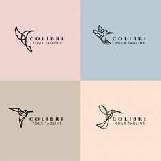 Colibri editable premade monoline logo t. Minimal Font, Minimal Logo Design, Logo Minimalista, Design Minimalista, Pastel Background, Geometric Background, Creative Brochure, Brochure Design, Wc Logo