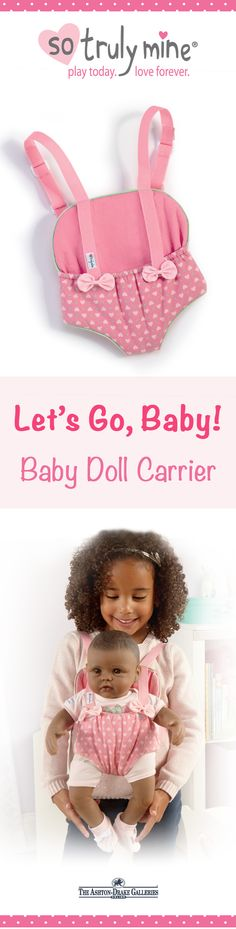 Your little one can carry around her So Truly Mine toy doll in style with the Baby Doll Carrier Accessory, crafted with adorable pink fabric with mint green trim. 100% satisfaction guaranteed, so don't delay - Shop Now!