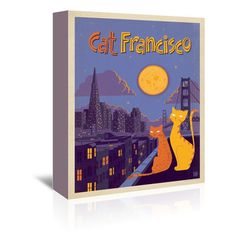 """East Urban Home Cat Francisco Vintage Advertisement on Wrapped Canvas Size: 20"""" H x 16"""" W x 1.5"""" D"""