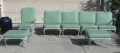 Vintage Woodward Chantilly Rose Patio Furniture Sectional Sofa Ottoman Chair | eBay
