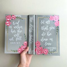 My most popular bible design! Get yours custom made on my Etsy rosycheeksus💕 Niv Bible, Bible Art, Images Bible, Bible Pictures, Painted Books, Hand Painted, Canvas Art Quotes, Bible Covers, Journal Covers