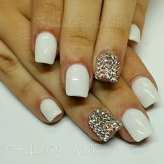 White, square round, swarovski crystals