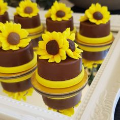Sunflower Cupcakes, Sunflower Party, Oreos, Mini Cakes, Cupcake Cakes, Sunflower Birthday Parties, One Tier Cake, Quinceanera Cakes, Novelty Cakes
