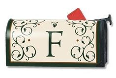 Grand Manor F Magnetic Mailbox Cover by Magnet Works. $14.25. This monogrammed mailbox cover has the letter scripted in a deep forest green color adding a touch of class to your mailbox.  Imagine, one product you can change as often as you like, season after season to dress up your old boring mailbox. Well this is it! Introducing Mailwraps® magnetic mailbox covers. The concept is simple: Provide an inexpensive quality product made durable and long lasting to pro...