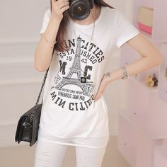 2015 new summer graphic letter printed tshirts women tops for girls woman female plus size | PinkPenguinBoutique