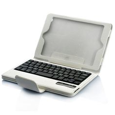 Leather Protector Case with QWERTY Detachable Bluetooth Keyboard and Flip Stand for iPad Mini - White