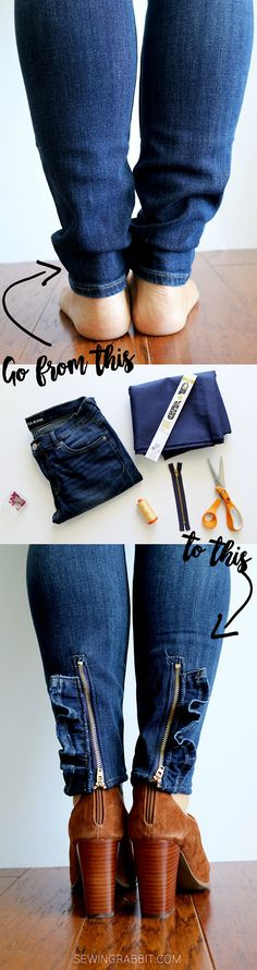 ruffled zipper jeans