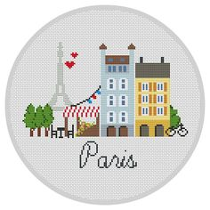 Paris cross stitch pattern Modern Cross stitch pattern PDF Eiffel Tower cross…