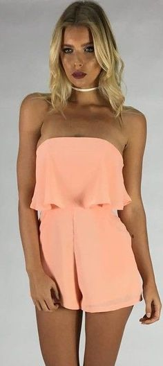 #summer #comfy #outfits | Peach Playsuit