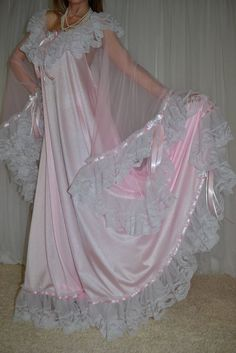 VTG Lingerie Nylon Lace Bra Area Negligee Slip FULL Sweep LONG Nightgown XXL 2X