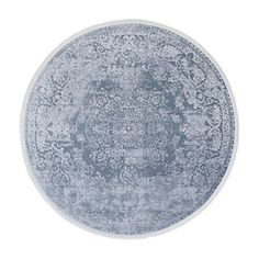 Vloerkleed oosters motief Mavi 160x160cm rond marineblauw