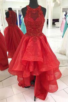 High Low Prom Dress, Organza Prom Dress, Red Prom Dress for Teens #prom #dress #promdress
