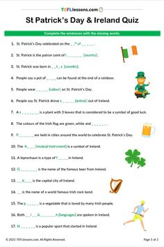 This is a FREE St Patrick's Day Quiz for ESL learners. Click through to register and download. #StPatrick'sDayESL #TeachEnglish #LearnEnglish #TESOL #TESL #TEFL #ELT #ESL #EFL #TeachingEnglish #TEFLtimesavers #EnglishHandouts #EnglishWorksheets #TEFLlessonPlans Esl Lessons, Online Lessons, English Lessons, Learn English, Efl Teaching, Free Teaching Resources, Teaching Ideas, English Teaching Materials, Teaching English