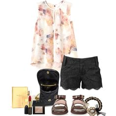 A fashion look from August 2014 featuring Rebecca Taylor blouses, Alice + Olivia shorts and Givenchy sandals. Browse and shop related looks.