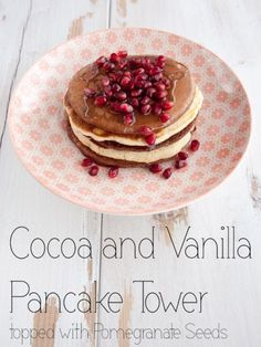 Coconut And Cacao Nibs Pancake Tower Recipe — Dishmaps