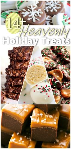 Easy quick holiday treats you can make for Christmas with your kids. List of 14 ideas you can do tonight freeze or serve right away. Do you have your holiday cookies and holiday desserts ready? Find recipes to all your favorite heavenly holiday treats. Christmas Desserts, Holiday Treats, Christmas Treats, Christmas Baking, Christmas Parties, Christmas Recipes, Christmas Candy, Christmas Fudge, Holiday Recipes