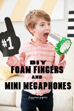 DIY Superbowl party foam fingers and mini megaphones. Perfect Superbowl Party crafts for kids!