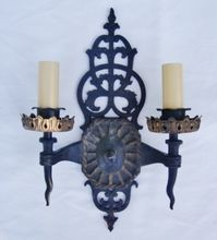 19c Antique Gothic Iron Double Wall Lamps Sconces Medieval