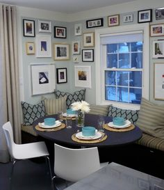 Suzie: Cameron MacNeil Designer - Fun, eclectic dining nook with gray blue walls paint color, ...
