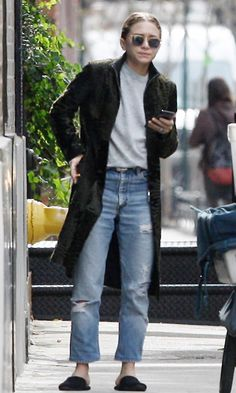 Ashley Olsen Steps Out In Textured Fur And Ripped Jeans (Olsens Anonymous)