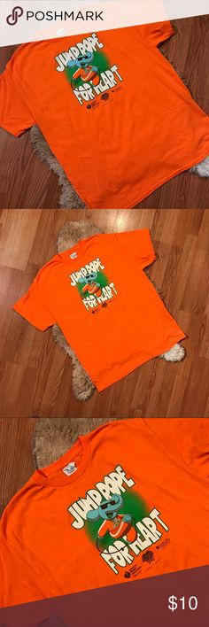 ▪️v i n t a g e| jump rope for heart t-shirt Bright orange JUMP ROPE FOR HEART graphic t-shirt Size large — true to size — unisex Excellent condition — no flaws or defects Bright, comfortable, in like new condition.    #orange #jumprope #forheart #graphic #euc #birthday #shopping #gift #present #clearance #deal #bogo #sale #freeship Vintage Shirts Tees - Short Sleeve