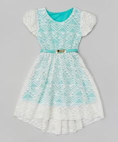 Another great find on #zulily! White & Mint Lace Overlay Belted Dress - Girls by Maya Fashion #zulilyfinds