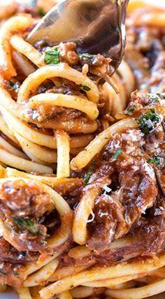 Spaghetti in Rich Braised Beef and Porcini Mushroom Ragù