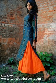 Descripition :Abstract print kurta with kali inside Fabric : Handloom muslin and Mul Mul Colour : Orange , Green  OUR DRESSES HAVE GOOD 2 MARGIN FROM BOTH THE SIDES IF YOU PUT ON OR SOMETHING THIS DRESS WONT MAKE YOU PUT DOWN :)