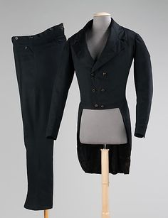 1830-1840: The dress coat, as this style of jacket was originally called in the late 18th century, was worn for day and formal evening occasions, with the exception of court which had its own prescribed dress code. Near the end of the 18th century and the first few decades of the 19th century this style of jacket was paired with contrasting colored knee breeches or trousers and a contrasting vest. By the 1820s, a matching suit, such as this one, was more common.