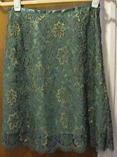 INC Ladies Green Lace knee-length A-Line Skirt 4P, fully lined
