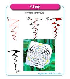 Z-Line tangle pattern  by Alena Light PatternCollections.com