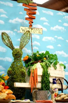 look at the centerpiece for this Peter Rabbit party!! WOW!!!