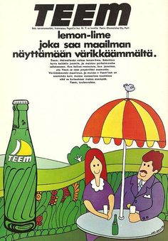"""A Finnish Teem ad from the """"Lemon-lime that'll make the world look more colorful"""" Vintage Advertisements, Vintage Ads, Old Commercials, Good Old Times, Poster Ads, Old Ads, Vintage Recipes, Childhood Memories, Nostalgia"""
