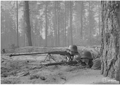 Finnish soldiers with Wz. 35 (Polish mm anti-tank rifle) in Photo Credit: SA-Kuva- pin by Paolo Marzioli