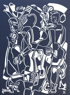 Penal by Melissa Bates. Visit www.visualemporium.com.au to see more of Melissa's art. #art #artist #unique #creative #expression #cutout #cubism #contrast #figures #dramaticart
