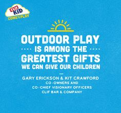 As parents themselves, Gary and Kit, the founders of CLIF Bar, understand that the love for the outdoors starts when kids are young. #OutToPlay