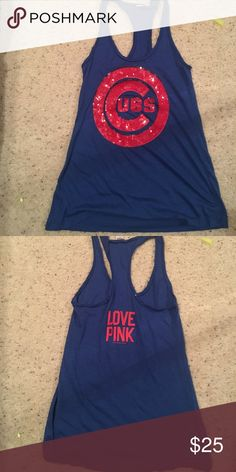 "VS pink Chicago Cubs tank Excellent condition sequined ""cubs"" logo in front PINK Victoria's Secret Tops Tank Tops"