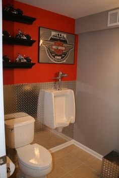 Man Cave Bathroom, The ideal bathroom for the man and Harley lover!, Just a splash of orange and diamond plate as...