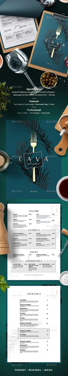 Restaurant Menu Template PSD - A4 and US Letter Size