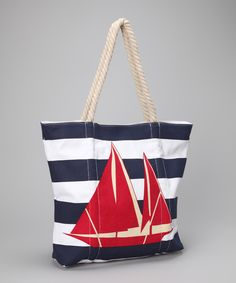 Take a look at this Straw Studios Red & Navy Sailboat Tote on zulily today!