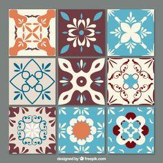 Set de azulejos ornamentales Vector Gratis