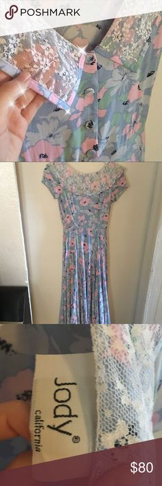 Selling this Vintage Jody California PinUp floral dress on Poshmark! My username is: sadda. Pastel Pink, Pink Blue, Plus Fashion, Fashion Tips, Fashion Design, Fashion Trends, Vintage Closet, Lace Collar, Vintage Valentines